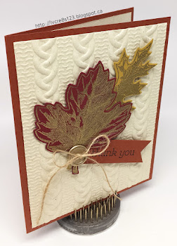 Linda Vich Creates: Cable Knit Thank You. Gold embossed Vintage Leaves adorn a cable knit backround on this thank you card.