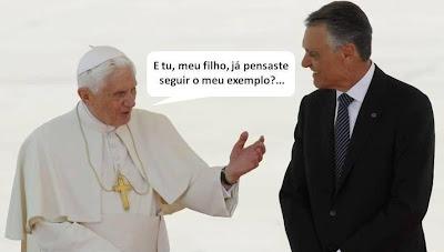 Papa Bento XVI aconselha Cavaco Silva a seguir o seu exemplo