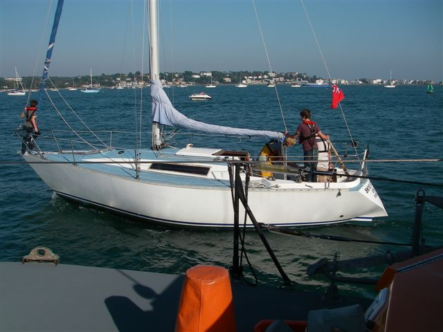 30 September 2011 - the ALB escorts the yacht to its mooring near the fuel barge in Poole Harbour