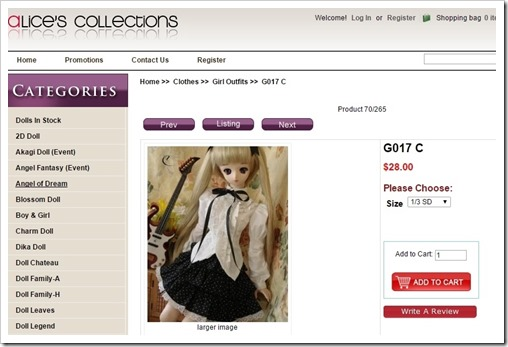 g017 Outfit for BJD from Alice's Collections