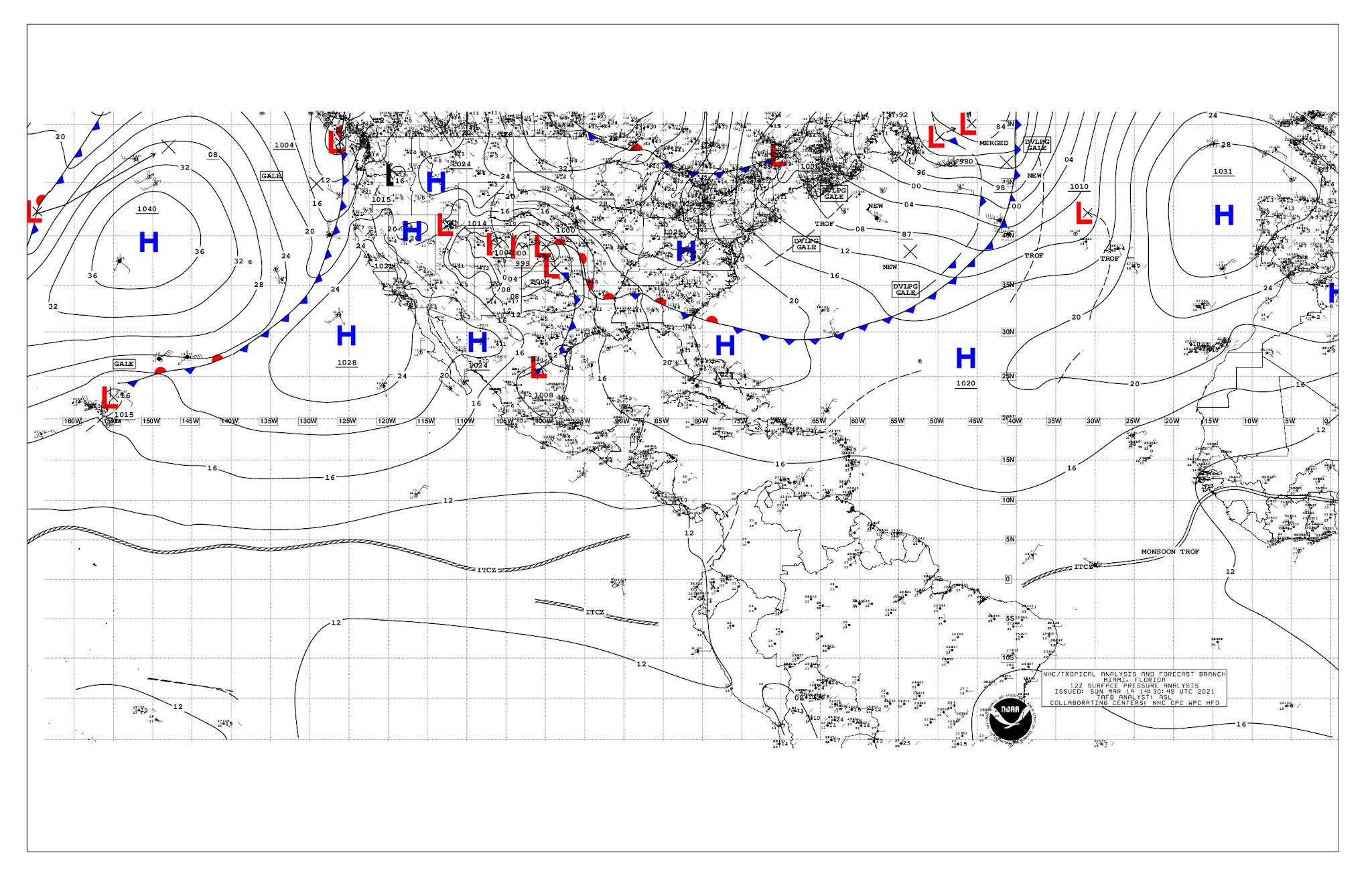 mapa del tiempo en vivo del atlantico y pacifico