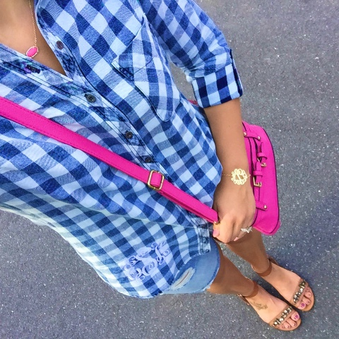 monogrammed shirt, pop of pink, preppy style