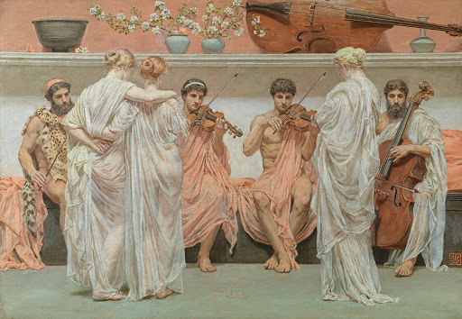 Albert Moore - 3 The Quartet, a painters tribute to the art of music- 1868.jpg