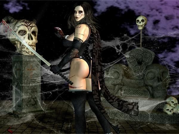 Sculls And Girl, Black Magic