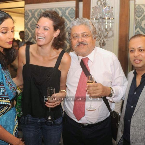 Chetan Seth with guests at fashion designer Rina Dhaka's pre show cocktail party, held in New Delhi.