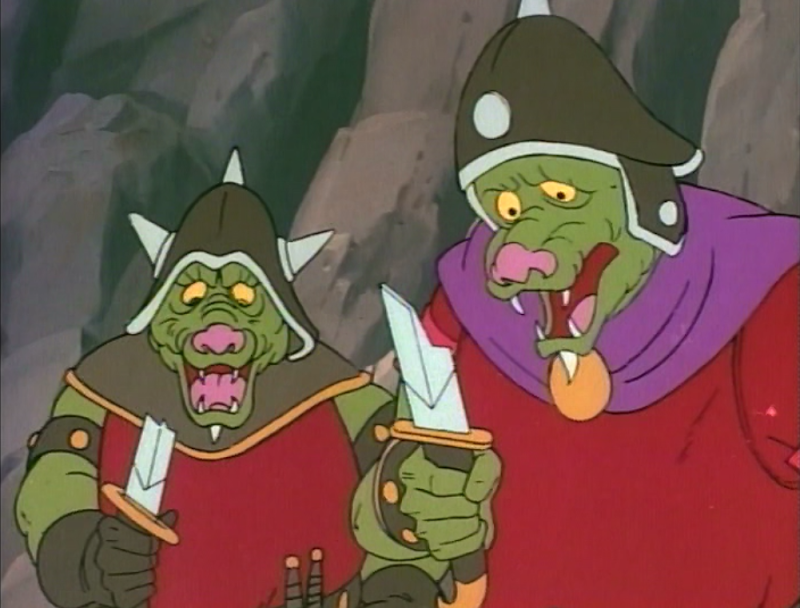 Orcs goggle at their broken swords