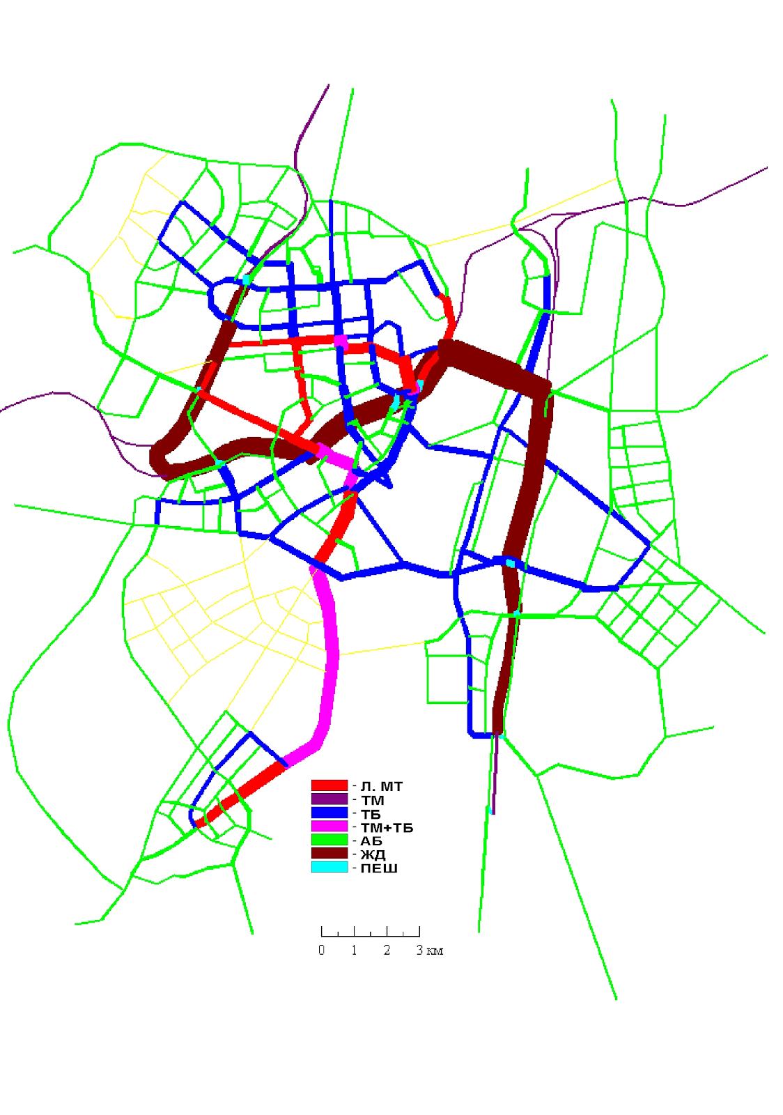 21. Вариант III Основной. Сеть ГПТ совмещенная с картограммой пассажиропотоков по видам транспорта