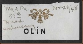King George Sarah Olin name tag