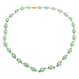 14K Gold & Pearl Green Stone Necklace