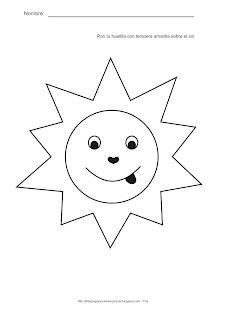 Actividades para estimulación temprana. Pon tu huellita con tempera de color amarillo sobre el sol. Ayuda a tu niño a identificar, asociar y relacionar el sol con el color amarillo