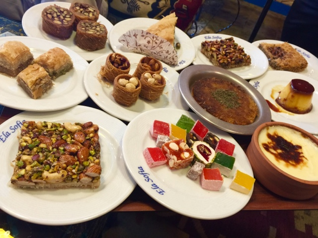 Dessert tray at Mom's Corner Restaurant Istanbul