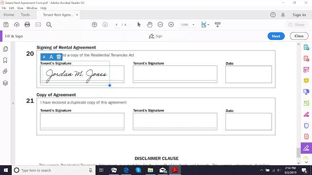 Caixa de assinatura do Adobe Acrobat Reader DC