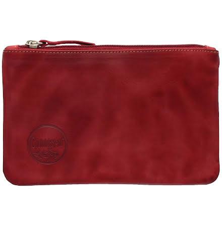 Mini väska röd i skinn med kreditkortsficka