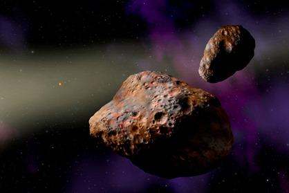 ilustração do asteroide binário Pátroclo e Menoetius