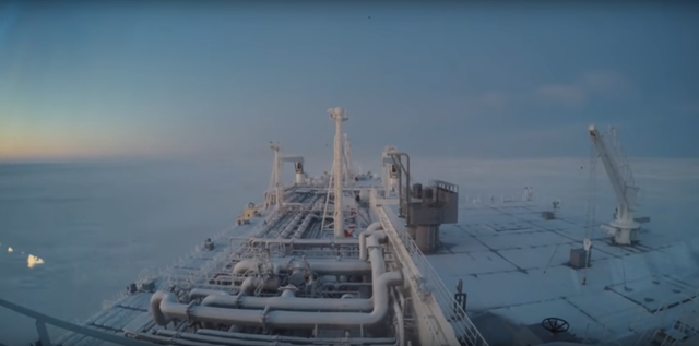 Screenshot from a video showing the 'Eduard Toll', an icebreaker LNG Carrier, as it crosses the Arctic in February 2018. It's the first winter crossing of the Arctic without an icebreaker as global warming causes the region's sea ice to melt. Photo: Teekay Corporation