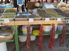 Market in Tirana, full of olives...