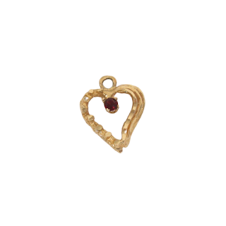 14K Gold and Red Stone Pendant