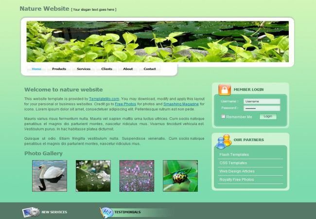 Ready - Ecological website template | Free Website Templates