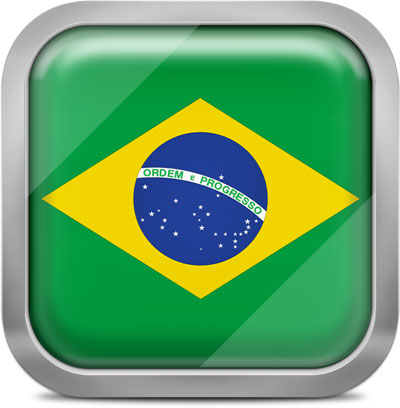 Brazil square flag with metallic frame