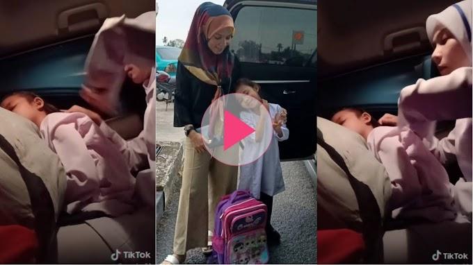 Kasih ibu, hari2 gigih bangun awal siapkan anak dalam kereta sebelum kerja