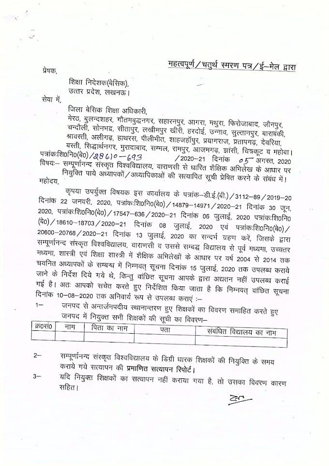 सम्पूर्णानन्द संस्कृत विश्वविद्यालय, वाराणसी से धारित शैक्षिक अभिलेख के आधार पर नियुक्ति पाये अध्यापकों/अध्यापिकाओं की सत्यापित सूची प्रेषित करने के सम्बन्ध मे।
