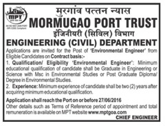 Mormugao Port Trust Jobs 2016 Environmental Engineer