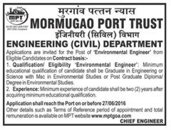 Mormugao Port Trust Jobs 2016 Environmental Engineer