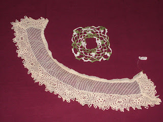 Mary's antique Irish Crochet collar and her crochet piece