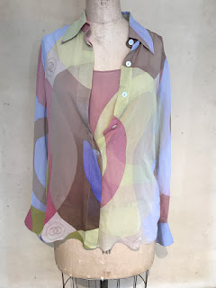 Chanel Silk Multicolor Blouse and Halter Pair