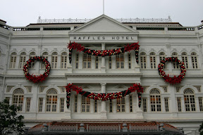 Raffles Hotel, decorated for Christmas
