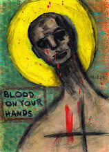 "Photo: Blood On Your Hands.  5/7"" or 13/18 cm. Mixed medium on thick archival paper. Signed and sealed. ©Marisol McKee"