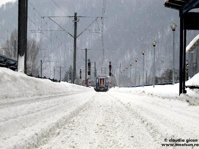 iarna in gara: trenul plecand