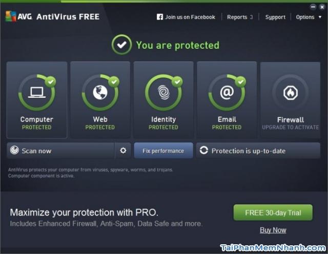 giao diện avg antivirus