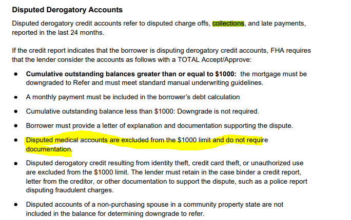 Disputed Accounts On Credit Report and how it effects FHA Loans