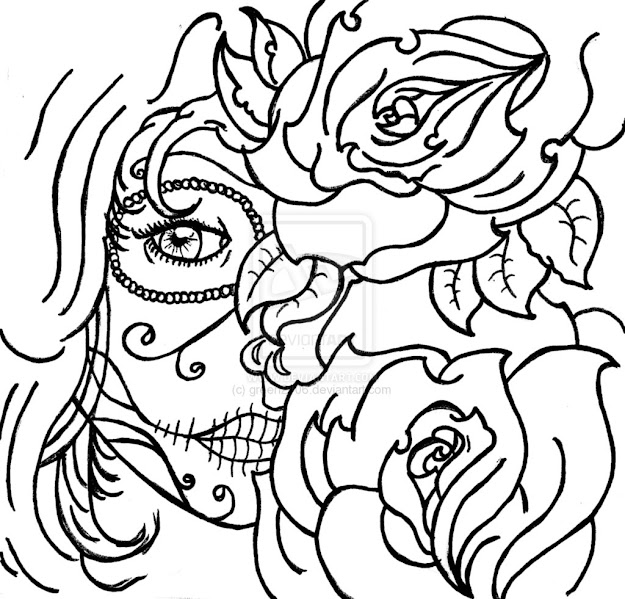 Coloring Page Skull Sugar Mexican Candy  Gypsy Candy Skull Roses By  Green Designs Interfaces Tattoo