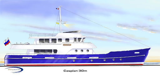Dibley designed 30 metre Luxury Cruising Launch Astrakhan, Caspian Sea