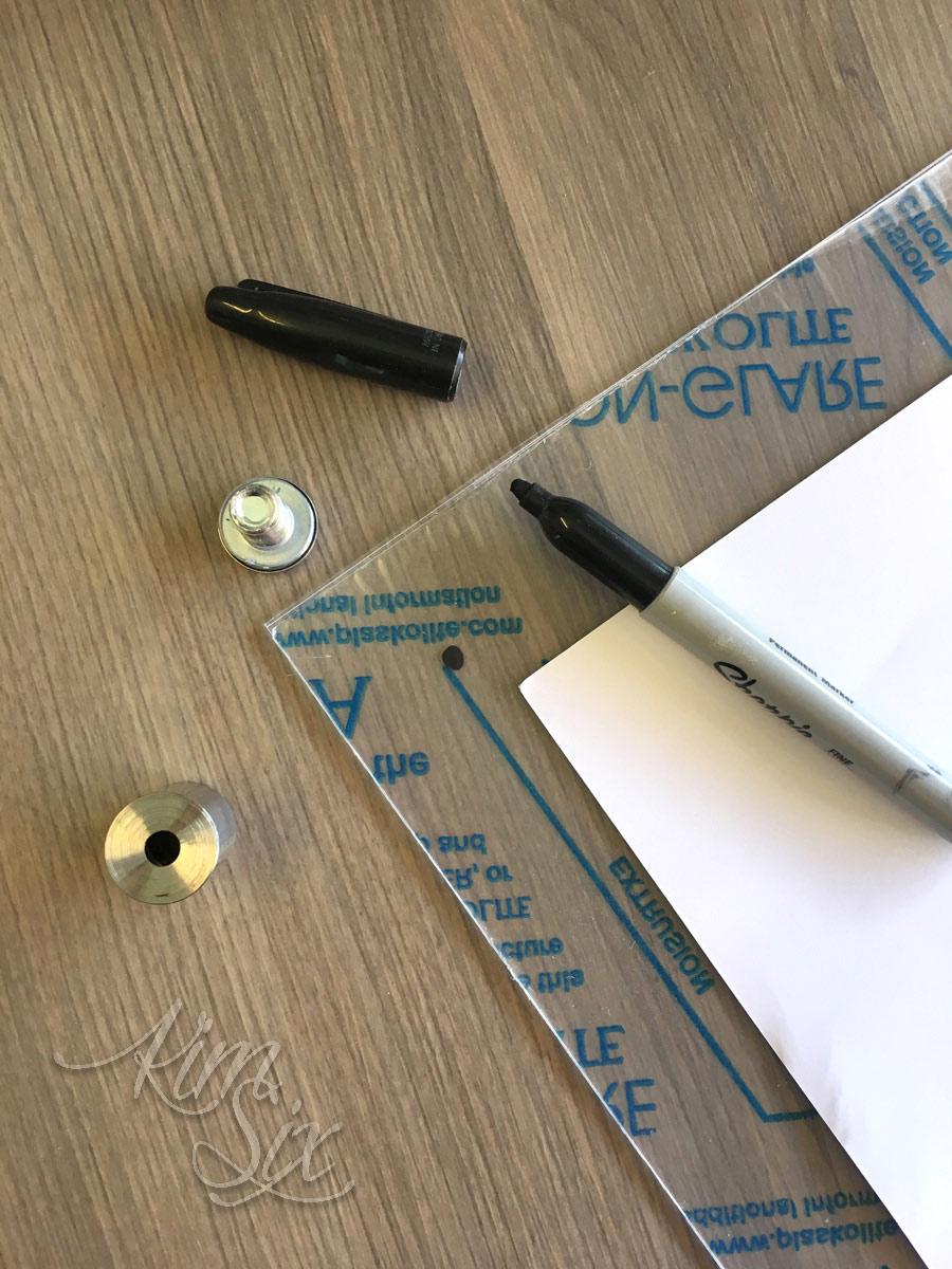 Marking plexiglass for standoff frame