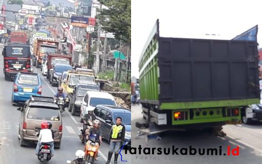 Truk Patah As Jalan Raya Sukabumi Bogor Macet
