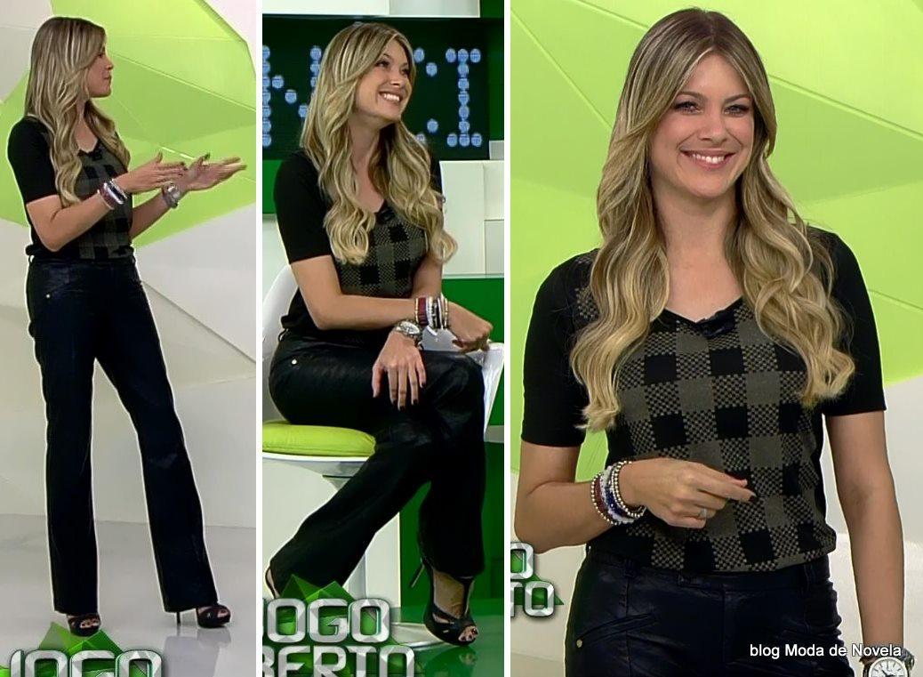 moda do programa Jogo Aberto - look da Renata Fan dia 20 de maio