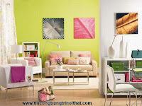 Phối màu bắt mắt cho phòng khách rực rỡ như nắng hè _ Thi công trang trí nội thất