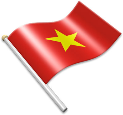 The Vietnamese flag on a flagpole clipart image
