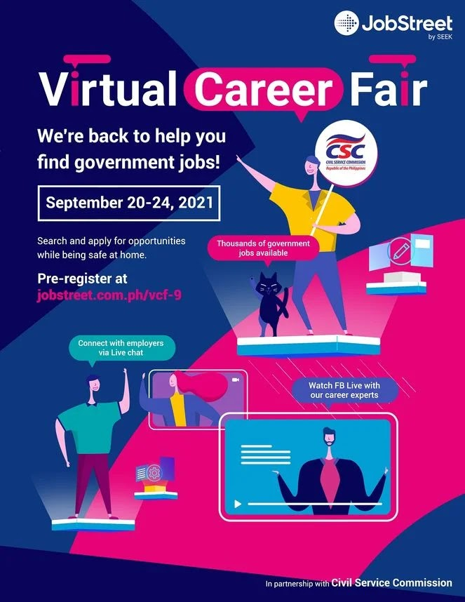 Virtual Career Fair organized by JobStreet and CSC featuring 24,000 government job openings