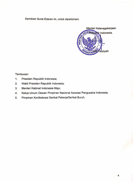 Surat Edaran Menteri M/6/HK.04/IV/2021