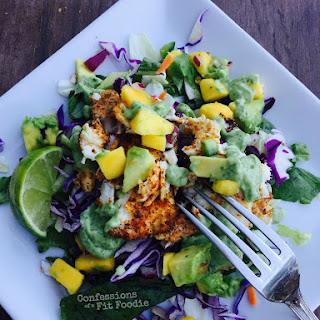 Deconstructed Fish Tacos with Avocado Cilantro Dressing {21 Day Fix}.