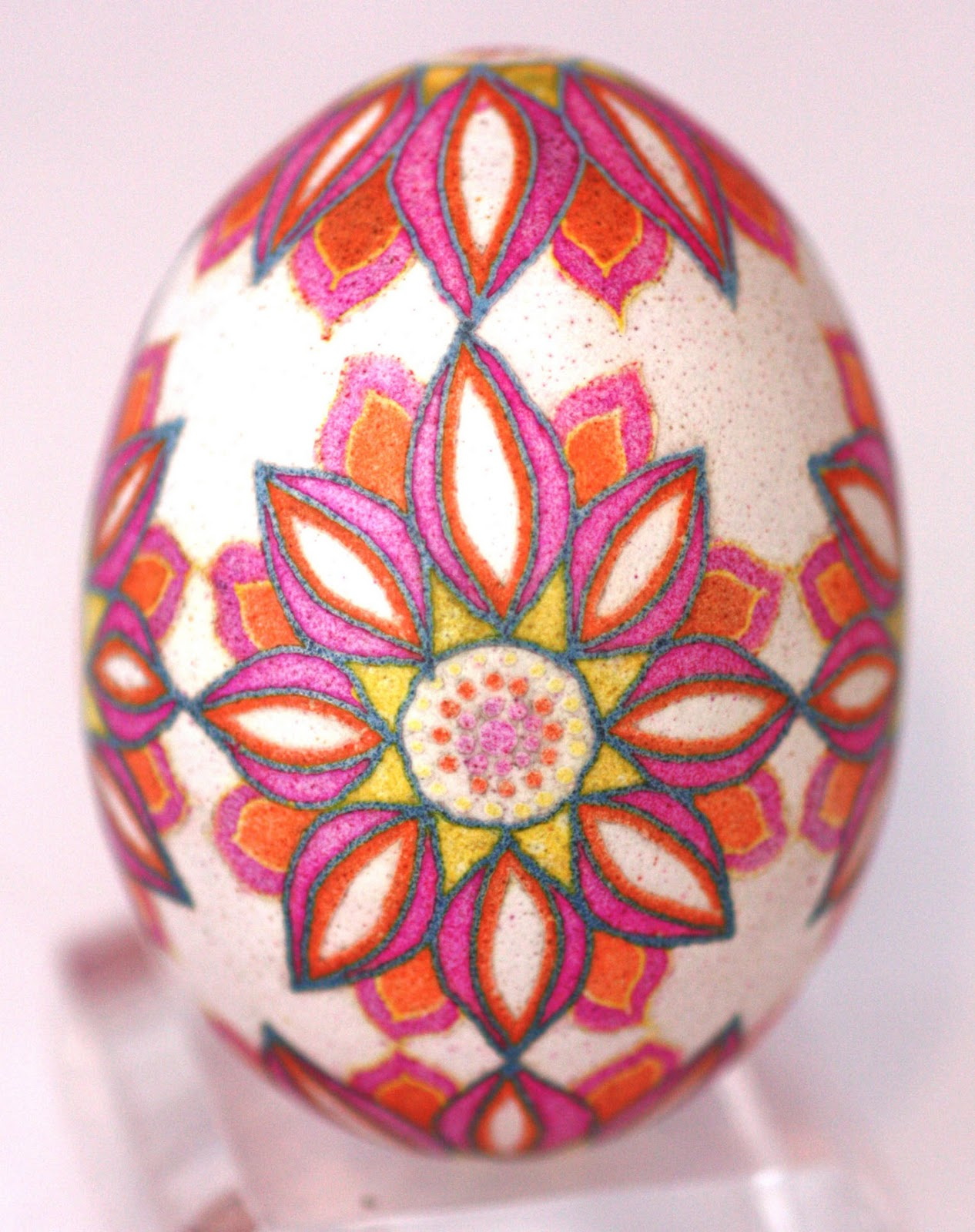 Pink and Orange Graphic Flower Pysanky