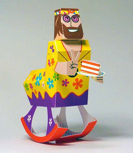 Rocking Horse Hippie Paper Toy