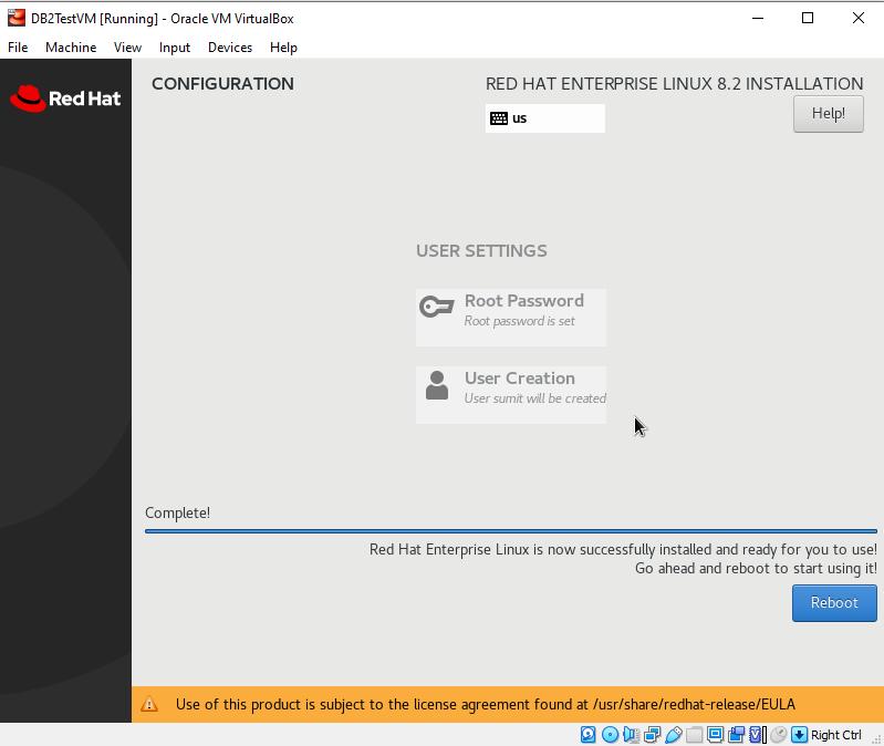 RHEL 8.2 Installation Configuration screen