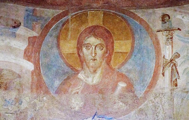 108. Fresco of Christ Pantocrator. VIII (?) Century. Church of Santa Maria foris portas. Castelseprio. Province of Varese. 2013
