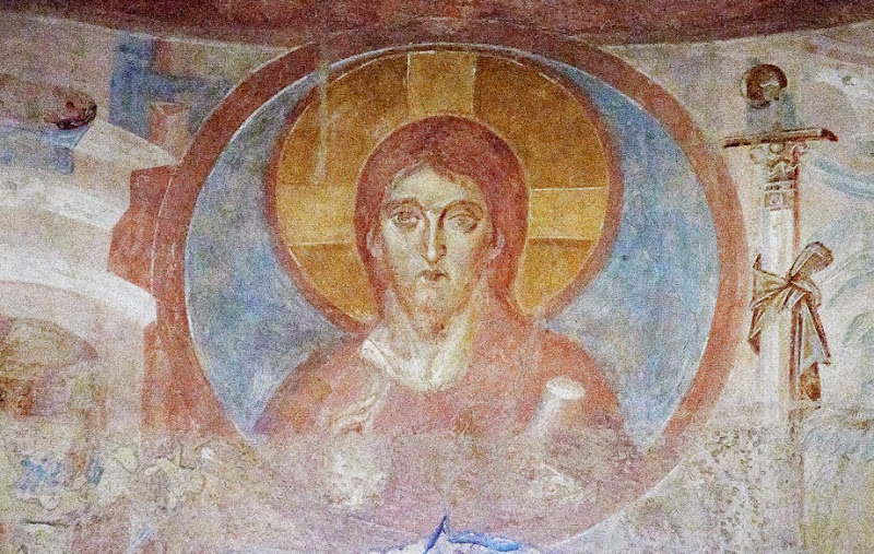 108. Fresco of Christ Pantocrator. VIII (?) Century. Church of Santa Maria foris portas. Castelseprio. Province of Varese. 2013