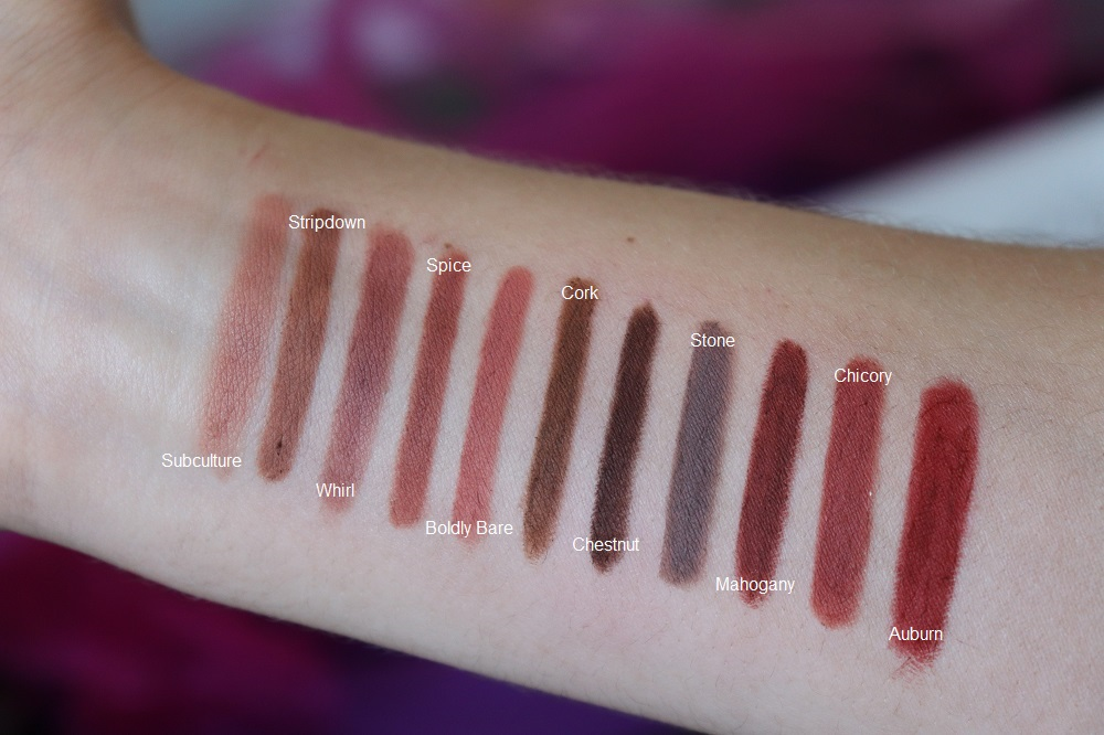 MAC Cosmetics Lip Pencil 29 Shades Colors Swatches Review UK Beauty blogger Makeup Artist The Burn Out Brand | Soar Spice Whirl Ruby Woo Cherry Beet Nightingale Heroine Currant Stripdown